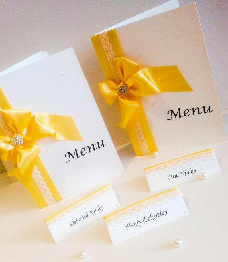 Springtime yellow satin ribbon and lace menu & name place cards wedding stationery collection