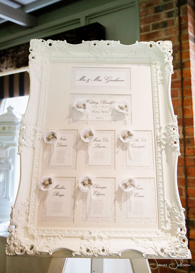 Victorian framed table plan with vintage floral lace and peony flower