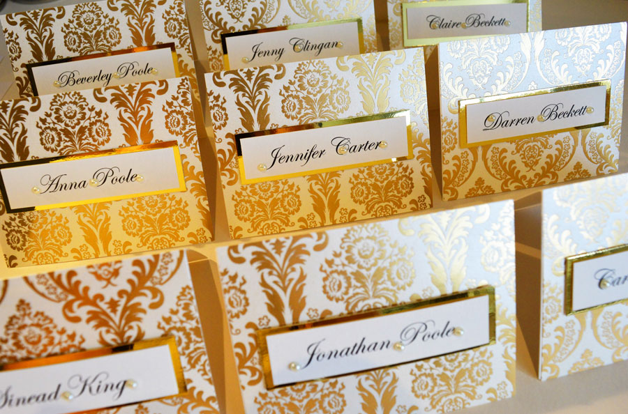 Opulent gold foil wedding name place cards wedding stationery