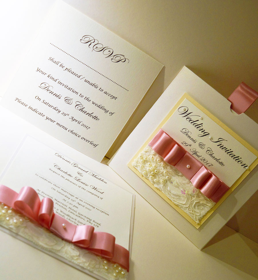 Wedding invitation & RSVP on white card with baby pink satin bow and lace trim