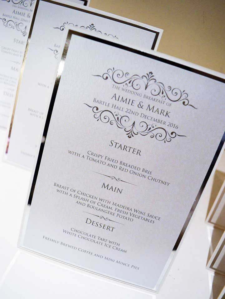 Elegant silver foil & white card Wedding Breakfast Menu