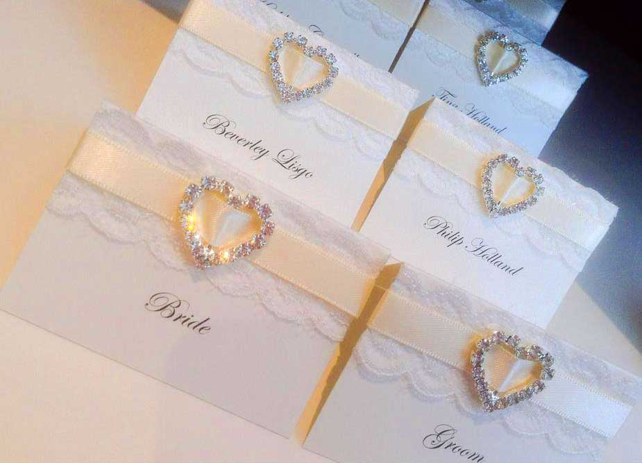 Bride & Groom name place cards with heart embellishment