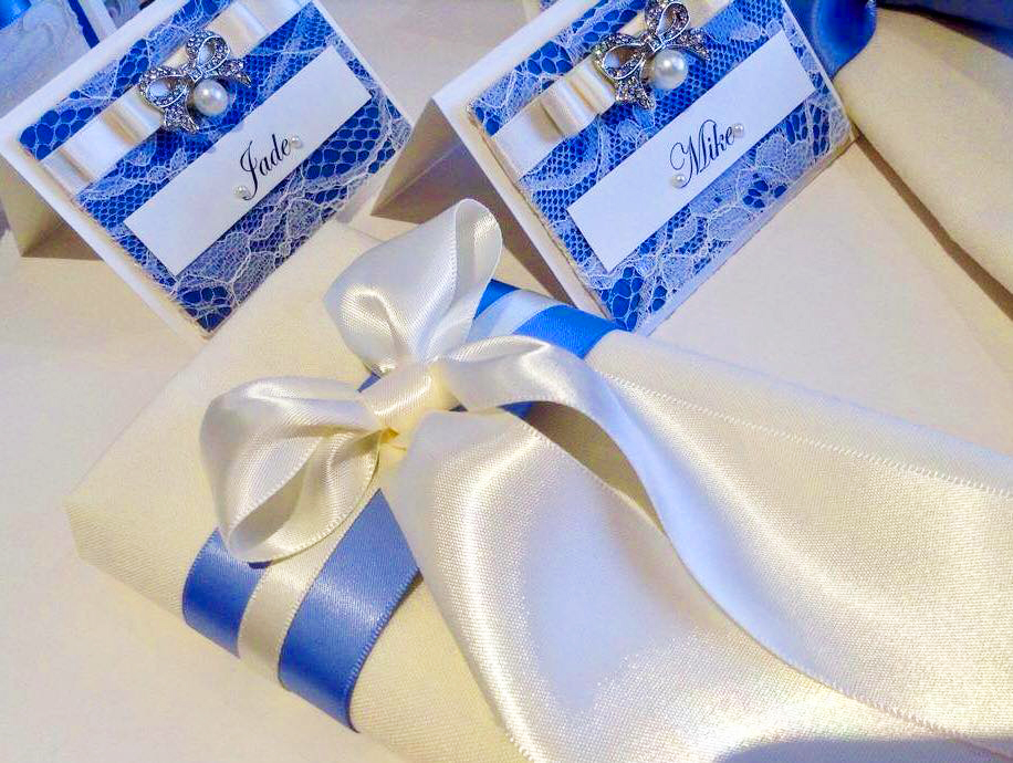 Napkin Dressing & name place cards - royal blue satin & white lace design