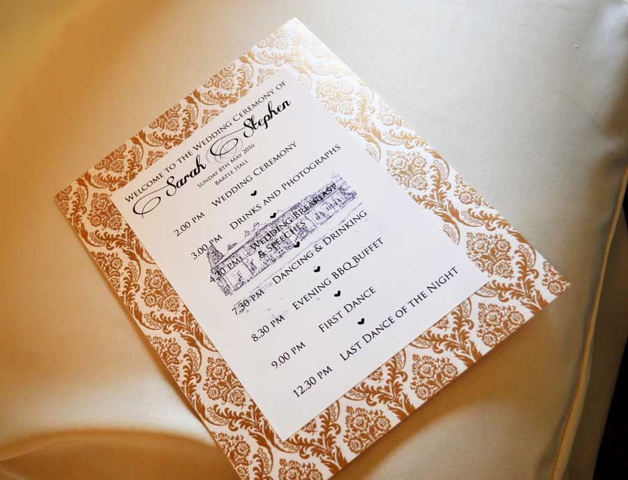 Opulent gold wedding Order of Ceremony - Charlotte Designs