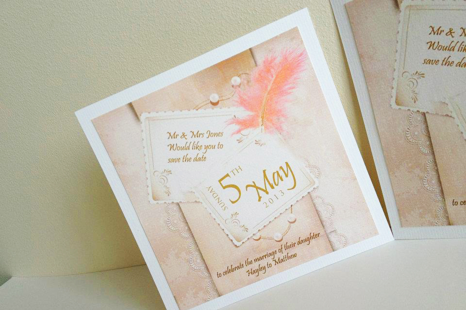 Save the date vintage pink feather design