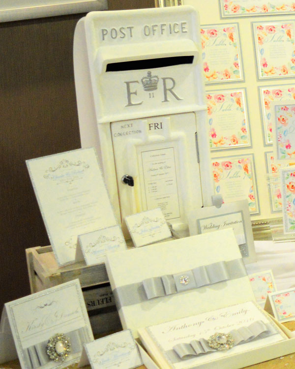 Silver & white wedding invitations, menu, name place card, post box & guest book collection