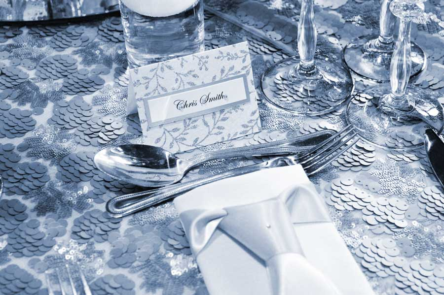 Silver leaf name place card & matching napkin dressing