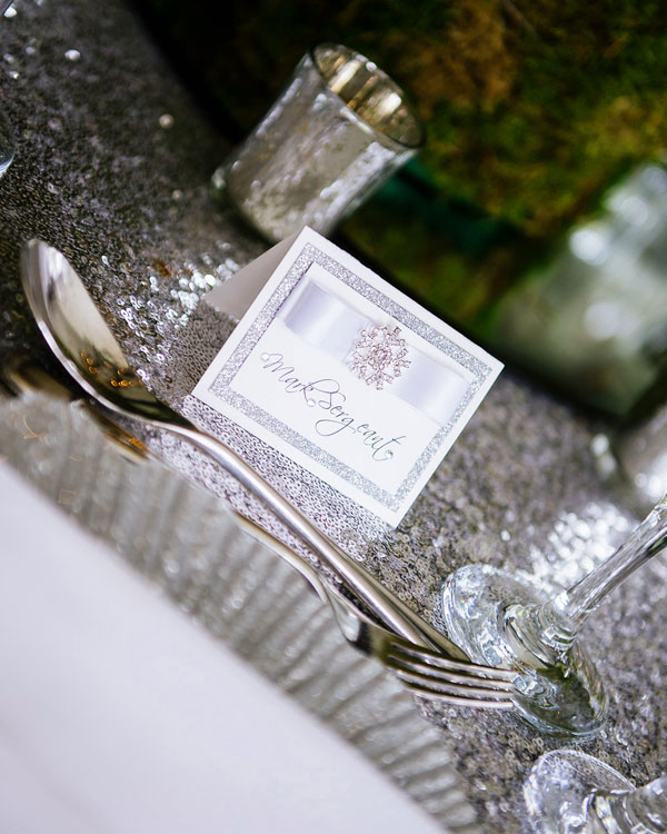 Silver sparkle glitter name place card with silver snowflake