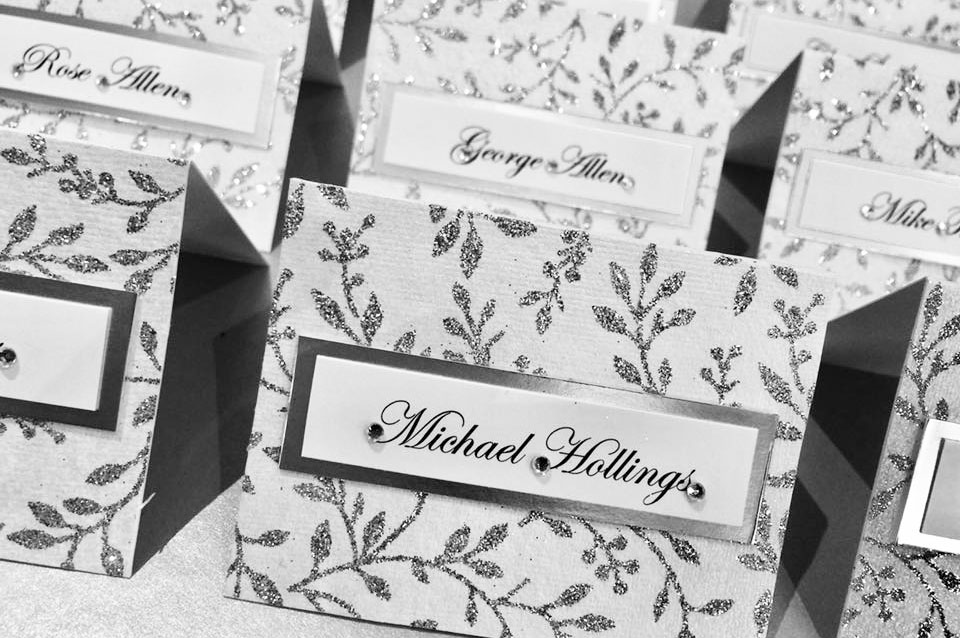Sparkly silver leaf design name place card wedding stationery