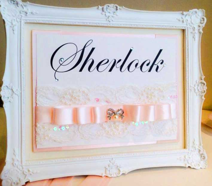 Framed Table Name - baby pink satin & diamante bow with white lace