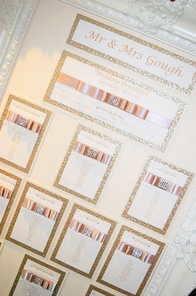 Table Plan with satin pleated ribbon & diamante embellishment