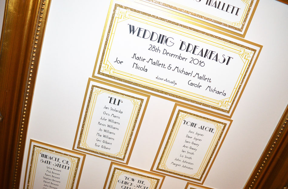 Gold art deco themed wedding table plan by Charlotte Designs