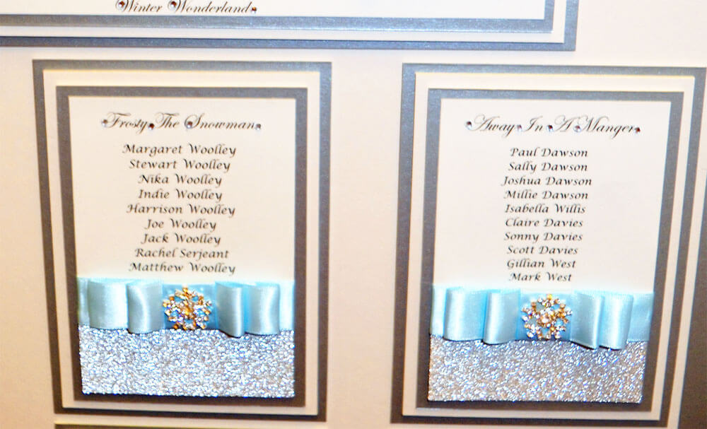 Close up of the Winter Wonderland ice blue themed table plan