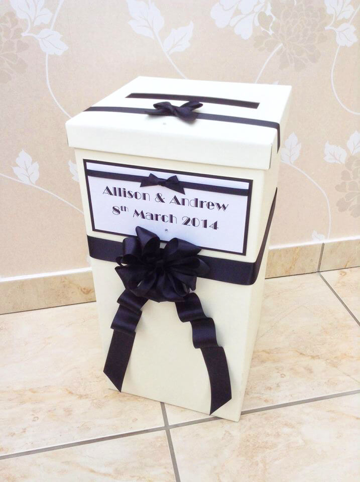 Tall cardboard post box black & white design by Charlotte Designs