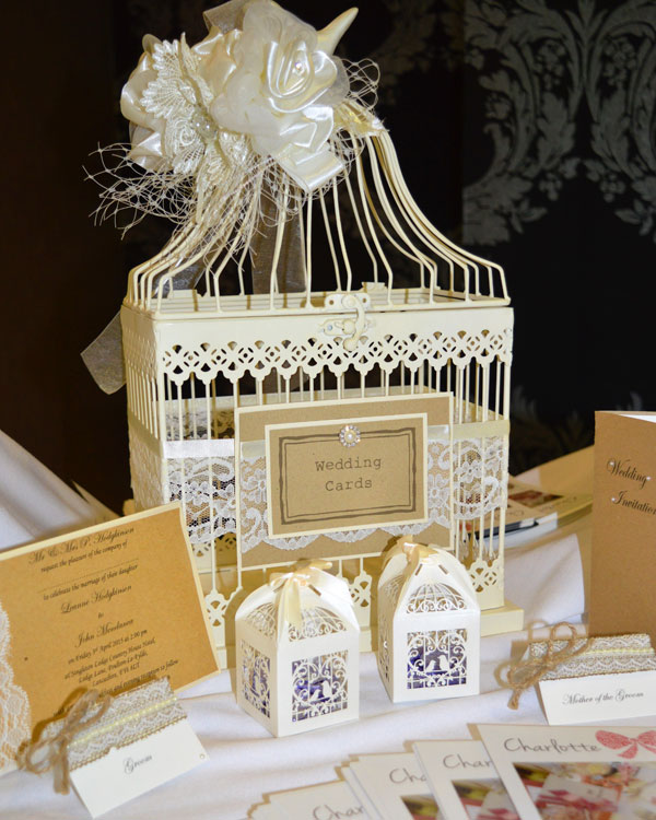 Vintage ivory wedding card bird cage with invitations & RSVPs