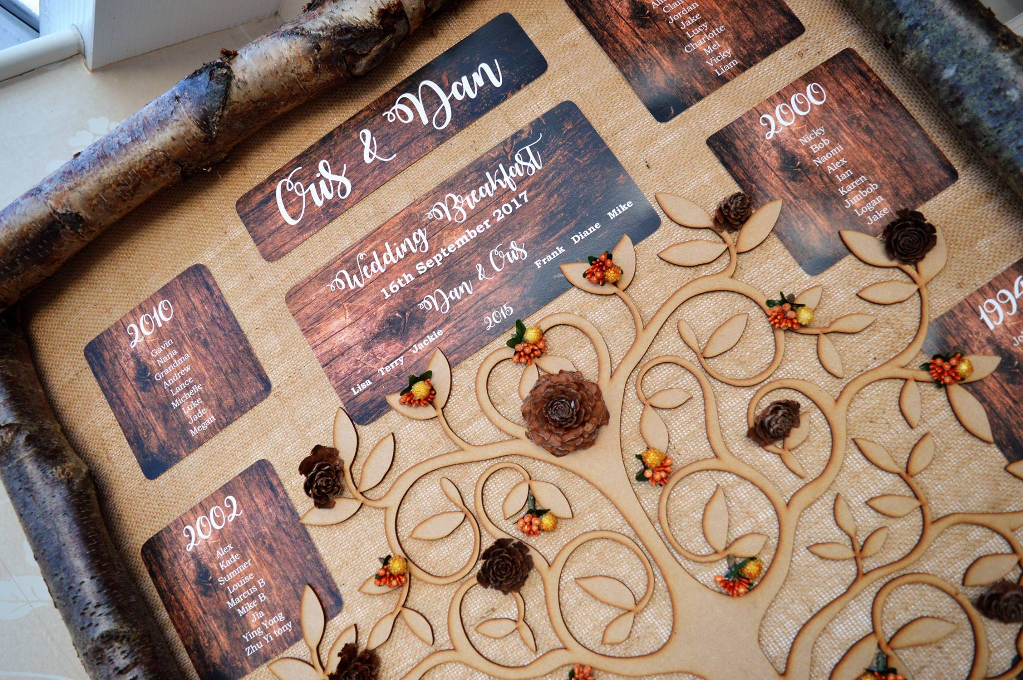Woodland table plan rustic lasercut tree