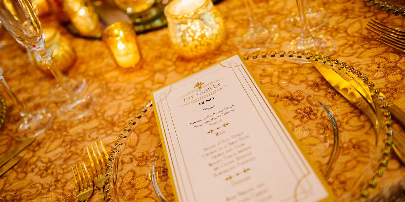 Opulent gold art deco wedding breakfast menu