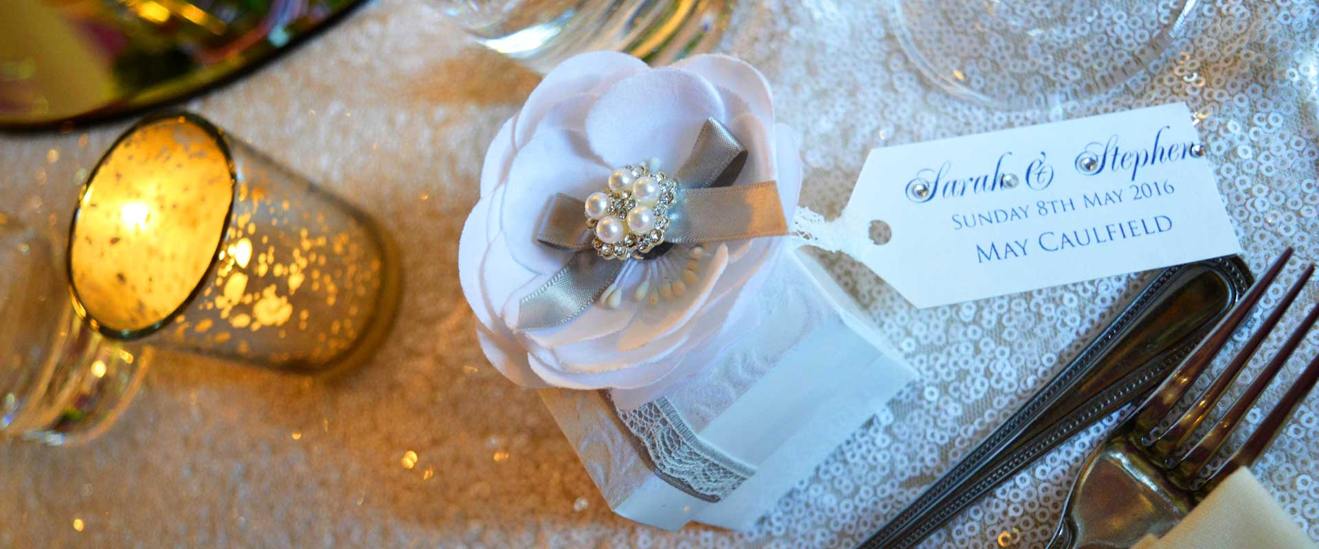 Wedding favour box with white peony flower & pearl decoration - Charlotte Designs